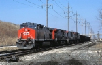 SP 351, GE AC4400CW, and a few sisters, coming off the BN onto the BRC at Hawthorne Junction