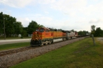 BNSF 5454 heads east on Frisco jointed rail