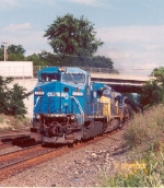 Westbound freight with an Ex-Conrail C40-8W leading.