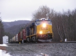 CSX #851 heads west passing mile post 135
