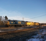 Q381 heads west with two Union Pacific's