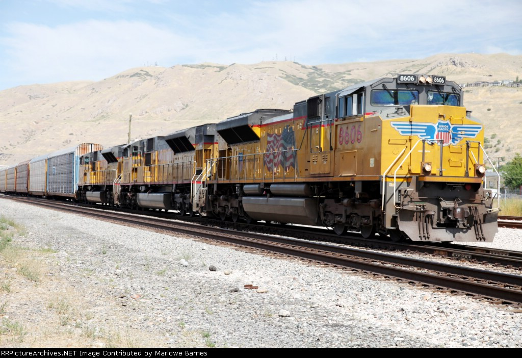 UP 8606 with SD-9043MAC cousins, as they exit the bottom end of the North Yard