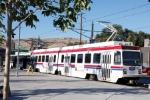 UTA Traxx Train stops at the Central Multimodal Transit Center