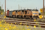 UP 5342 and a southbound merchandise glides into the North Yard for a crew change