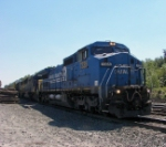 Q283 with an Ex-Conrail C40-8W on the point