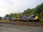 Two C40's lead this intermodal train at &quot;CP-SK&quot;