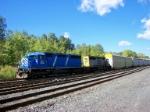 A CEFX SD40 takes this autorack train down the Riverline