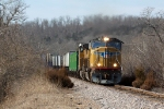 UP 5071 leads another detouring ZMQDU up the hill north of Blackwell MO