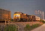 UP 7850 leads train 224 into Moberly in storm light