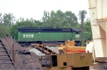 NB BN freight train in solid green ready to leave