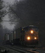 An intermodal approaching the Voorheesville Ave Crossing