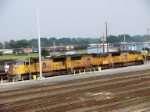 Three Union Pacific SD70M's waiting to be serviced