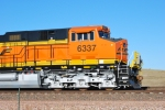 bnsf 6337 with the new automatic decoupler being used as a Helper train with BNSF 6339.
