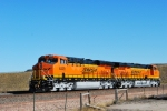 Long distance shot of two Brand new ES44AC'S BNSF 6339 and BNSF 6337.