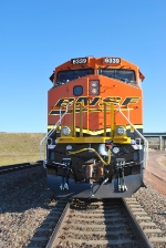 Head on shot of BNSF 6339 at the BNSF Donkey Creek Y, Wyoming