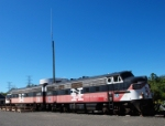 Two Ex-New Haven EMD F7A's bask in the early morning sunlight