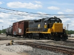 WAMX 3829 leads Z739's 2 cars out of Wyoming Yard