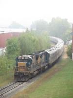 Now on GDLK rails, 7599 brings P916 slowly down the Hughart Runner
