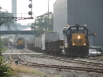Z739 heads for Wyoming Yard as 2691 leads Y221 towards the north side of town