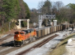 BNSF 9194 leads a empty Scherer train through the construction zone
