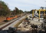 BNSF 9194 passing the concrete girder plant