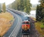 BNSF 4750     Grain Train in the Rain