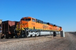 BNSF 6339 and BNSF 6337 sit on track #3 at Cabello and Belle Ayr Mines, Wyoming waiting to push the coal train beside them.
