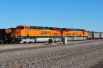 Brand new GEVO's as Helper units BNSF 6339 lead unit and BNSF 6337 with a automatic decouper attached to the front end knuckle wait to push the loaded coal train north.