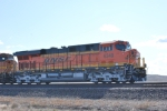 BNSF 6349 brand new ES44AC rolls east as rear DPU unit just 12 days out of GE locomotive plant Erie. Pa.