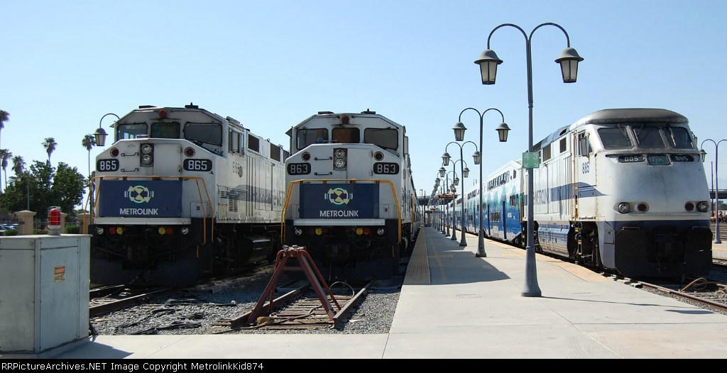 All three trains resting at the depot