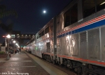 Station Stop Under an Autumn Moon for the Eastbound Southwest Chief at Fullerton California
