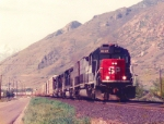 Southern Pacific's Oakland/Norflok Southern Forwarder.May 11,1996 Springville,Utah.