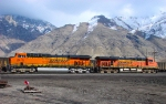BURLINGTON NORTHERN SANTA FE GE ES44AC'S 6418&5809 FEBRUARY 14,2010 PROVO,UTAH.