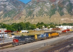 SOUTHERN PACIFIC GE AC4400CW 345,CSX GE C40-8W 7760,UP GE C40-8 9277.September 27,1997.Provo,Utah.
