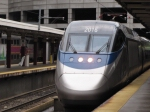 Acela arriving into Boston South Station