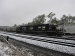 NS 5823 and 5647 wait in the Tyrone Yard on a snowy and cold October(?) morning