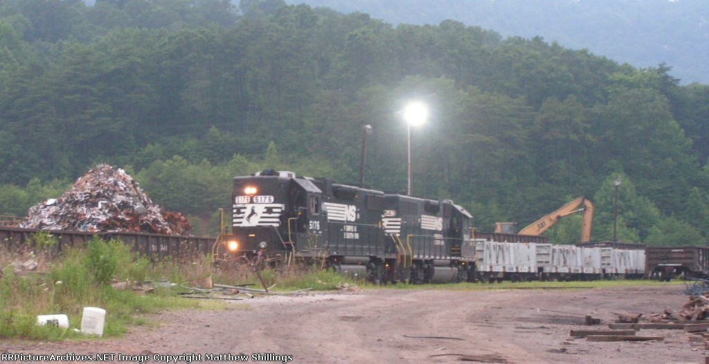 The Emory Gap local spotting cars next mountians of scrap metal at Bayou Steel.