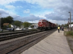 CP 8729 leads a container train through Winona about 15 minutes ahead of the 4449