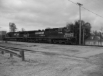 NS 8986 leads a westbound mixed freight through the city of Jonesburg on this chilly afternoon.