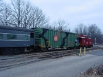 Santa's boxcar of toys rolling through Bergen County