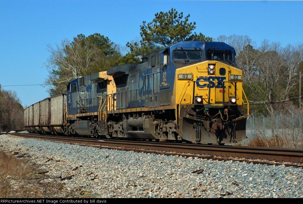 CSX 82 leads a 150 cars of coal