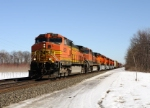 BNSF 5392 leads Westbound CSX Q393 at MP 96.6 Eaton Rd on track number two