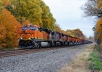 BNSF 7214 leads Westbound CSX Q393 at MP 106.8 on track number one