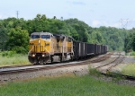 UP 9674 leads Westbound CSX Q351 at MP 127.8 on track number one.