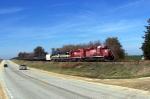 CP 5965 leads ethanol loads east of Ossian siding