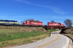 CP 5965 and CP 5948 lead over highway 52