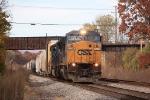 Eastbound freight under abandoned WM bridge