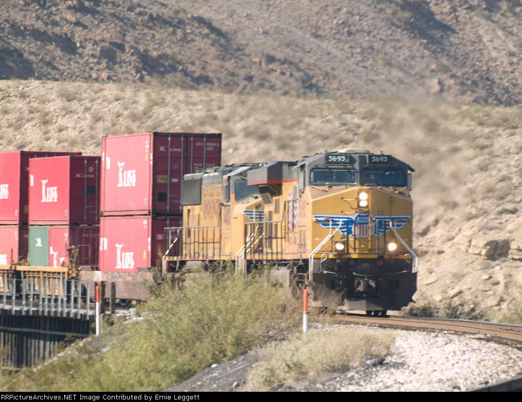 UP 5695 leads an EB doublestack at 1:01pm