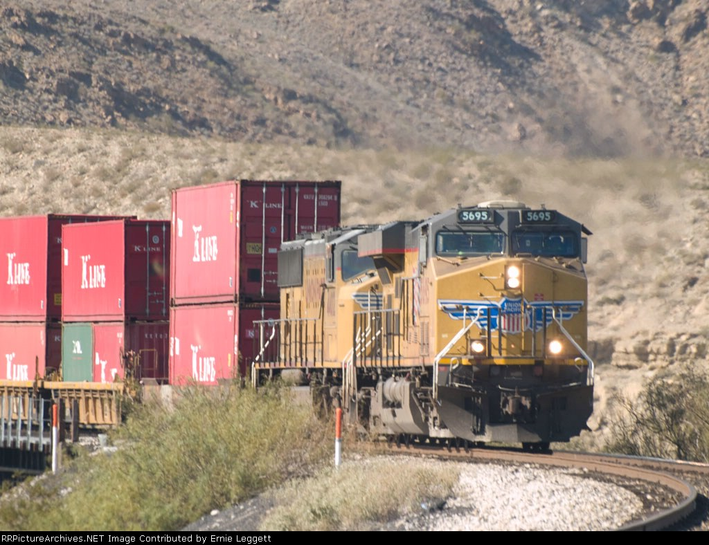 UP 5695 leads an an EB doublestack at 1:01pm