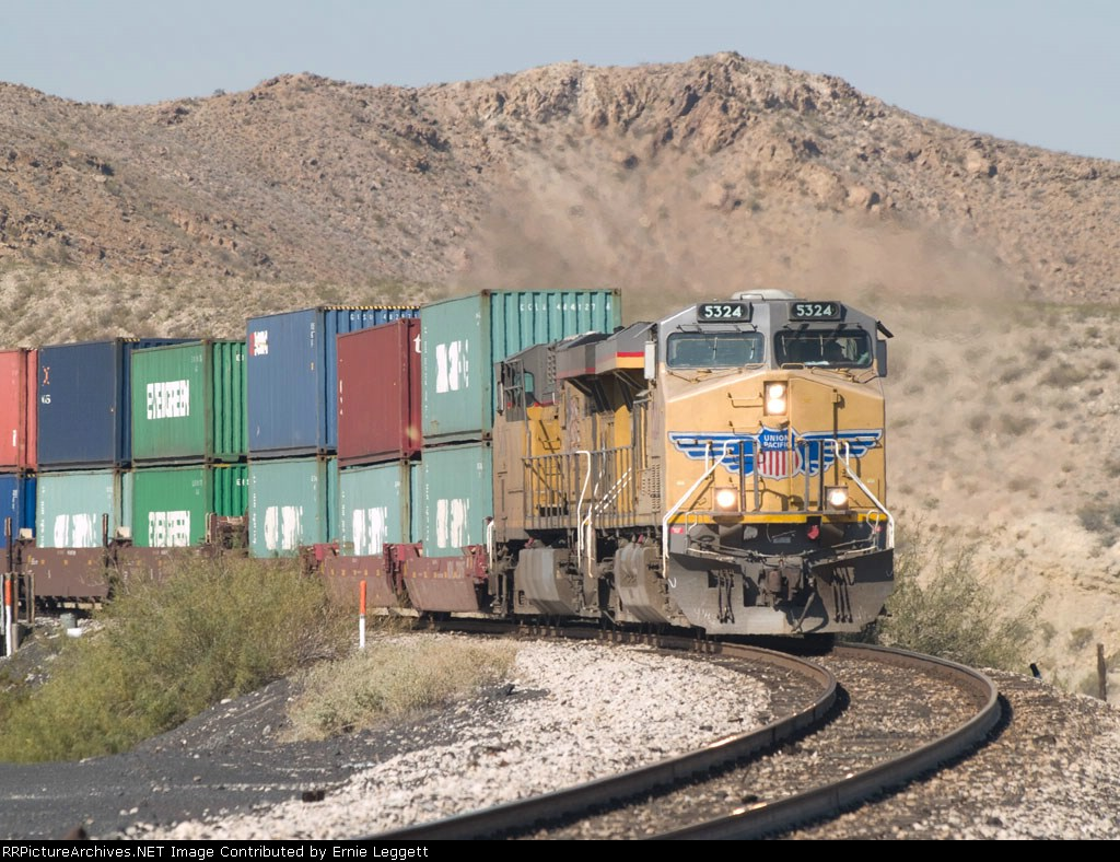 UP 5324 leads an EB doublestack at 11:47am